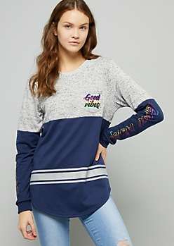Navy Good Vibes Foil Striped Long Sleeve Tee