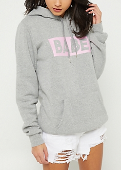 Heather Grey Babe Long Length Hoodie