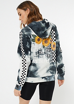 Black Tie Dye All The Feels Graphic Hoodie