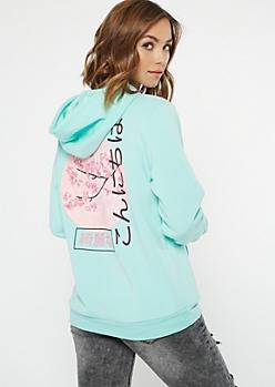Mint Cherry Blossom Kanji Graphic Hoodie