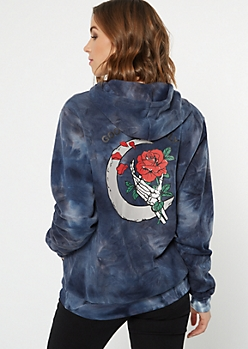 Navy Tie Dye Good Vibes Skeleton Rose Graphic Hoodie