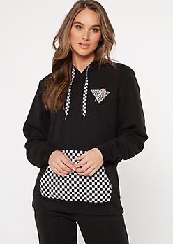 Black Checkered Print Influencer Graphic Hoodie