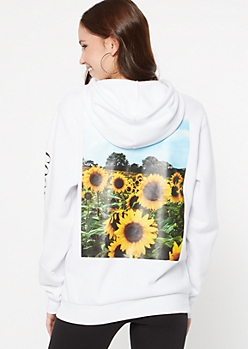 White Good Vibes Sunflower Graphic Hoodie