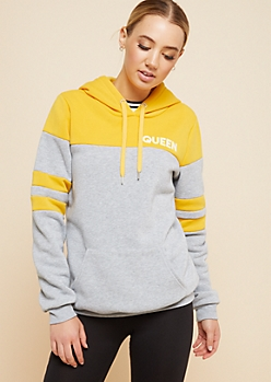 Mustard Colorblock Queen Oversized Hoodie