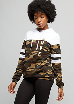 Camo Print Colorblock Love Fleece Hoodie