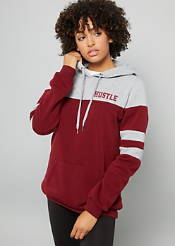 Burgundy Hustle Striped Varsity Hoodie