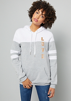 Gray Metallic Love Striped Varsity Hoodie