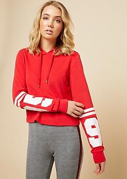 Red 95 Athletic Stripe Skimmer Hoodie