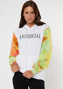 Tie Dye Antisocial Oversized Graphic Hoodie