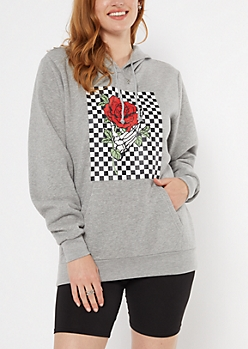 Gray Broken Hearts Checkered Print Hoodie