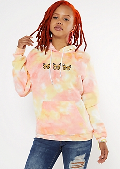 Orange Tie Dye Butterfly Graphic Hoodie