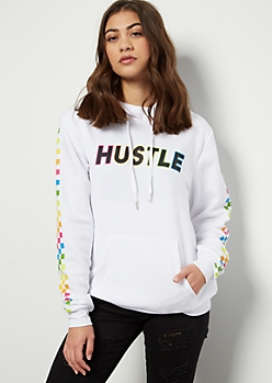 White Hustle Rainbow Checkered Print Graphic Hoodie