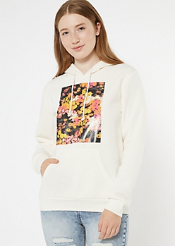White Flowers Come After Rain Graphic Hoodie