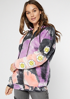 Tie Dye Positive Vibes Smiley Daisy Zip Up Hoodie