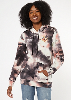 Charcoal Tie Dye Savage Butterfly Graphic Hoodie