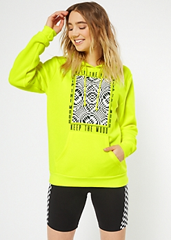 Neon Yellow Keep The Mood Graphic Hoodie
