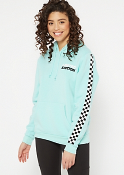Mint Checkered Print Limited Edition Graphic Hoodie