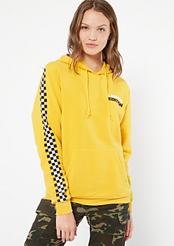 Yellow Limited Edition Checkered Print Hoodie