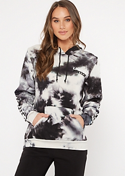 Black Tie Dye Limited Edition Checkered Print Graphic Hoodie