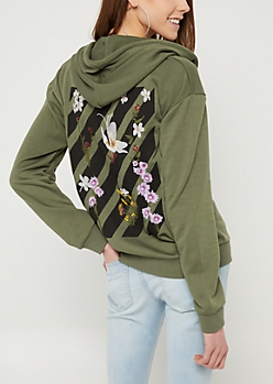 Olive Embroidered Back Zip Up Hoodie