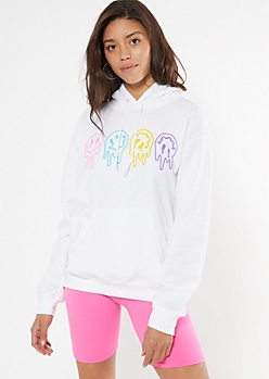 White Drippy Smiley Print Hoodie