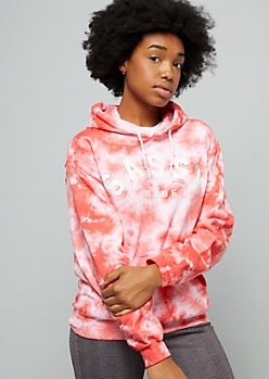 Red Tie Dye Sassy Babe Graphic Hoodie