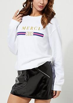 White Merci Fleece Sweatshirt