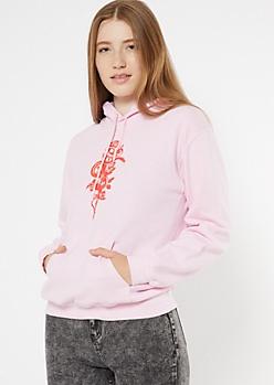 Pink Chinese Dragon Print Hoodie