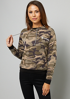 Camo Print Blessed Pullover Hoodie