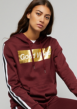 Burgundy Striped Good Vibes Metallic Graphic Hoodie