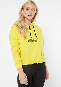 Yellow Half Zip Aaliyah Graphic Hoodie