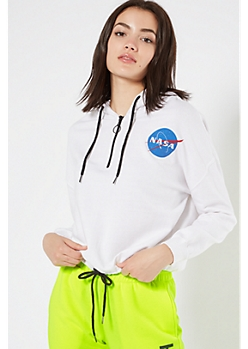 White NASA Drawstring Hem Graphic Hoodie