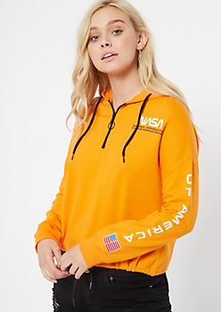 Orange Half Zip NASA Graphic Hoodie