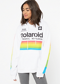 White Rainbow Polaroid Graphic Hoodie