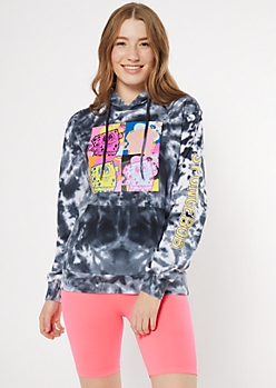 Black Tie Dye SpongeBob Pop Art Graphic Hoodie