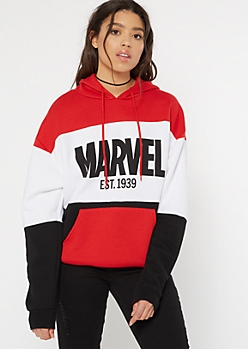 Red Marvel Colorblock Graphic Hoodie