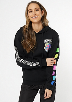 Black Neon Rainbow NASA Hoodie