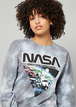 Gray Tie Dye NASA Crew Neck Sweatshirt