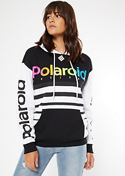 Black Striped Colorblock Polaroid Graphic Hoodie