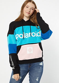 Teal Colorblock Polaroid Graphic Hoodie