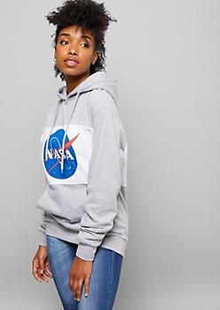 Gray NASA Colorblock Oversized Graphic Hoodie