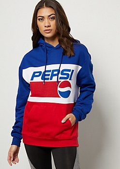Navy Colorblock Pepsi Oversized Graphic Hoodie
