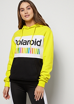 Neon Yellow Colorblock Polaroid Graphic Hoodie