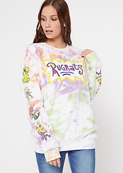 White Tie Dye Rugrats Graphic Pullover