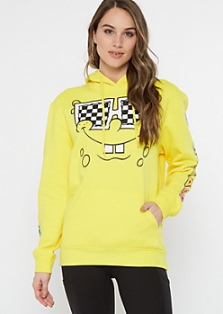 Yellow SpongeBob Glasses Graphic Hoodie