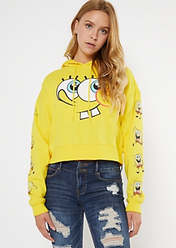 Yellow SpongeBob SquarePants Cropped Hoodie