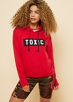 Red Toxic Box Print Pullover Hoodie