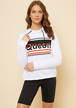 White Checkerboard Queen Pullover Hoodie