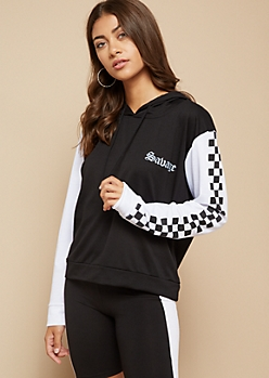 Black Colorblock Checkerboard Savage Pullover Hoodie