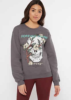 Gray Forever Young Skull Graphic Pullover